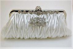 White Satin Bridal Clutch Pearl Wedding Bridal by TheOmbreMouse Bridal Handbags, Handmade Clutch, Bridal Clutch, Ostrich Feathers, White Satin, Evening Bags, Vintage Inspired, Swarovski Crystals, Pearls