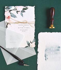 Flora wedding invitations, Rachel Marvin Creative, rsvp card, watercolor florals, vellum envelope