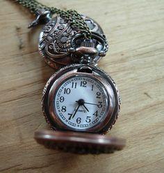 Rose Gold Miniature Pocket Watch Necklace by PocketwatchPurveyor, $35.00