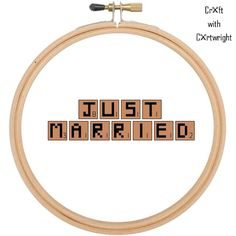 'Just married', scrabble tiles, lettering. Counted cross stitch pattern £2.40