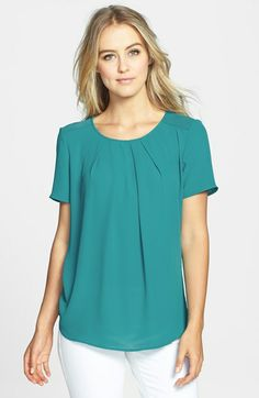 Bellatrix Pleat Front Mixed Media Blouse available at #Nordstrom