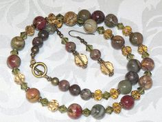 Red Creek Jasper Stone Necklace and Earrings  by CJKingOriginals, $37.50