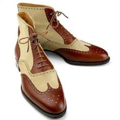 Details about Handmade Men Wing Tip Ankle High Boots Two Ton.- Handmade Men Wing Tip Ankle High Boots Two Tone Leather & Suede Brogue Boots Tan Leather Ankle Boots, High Ankle Boots, Suede Leather Shoes, Leather Men, Soft Leather, Denim Boots, Cowhide Leather, Brown Leather, Calf Leather
