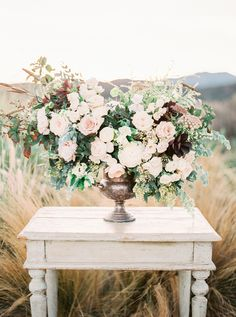 Photography: Sally Pinera - www.sallypinera.com Floral Design: Heirloom Design House - www.heirloomdesignhouse.com   Read More on SMP: http://www.stylemepretty.com/2016/01/15/ojai-winter-wedding-inspiration-pear-brandy-champagne-cocktail/