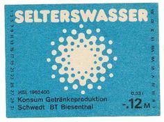 """DDR Museum - Museum: Objektdatenbank - Etikett """"Selterswasser""""    Copyright: DDR Museum, Berlin. Eine kommerzielle Nutzung des Bildes ist nicht erlaubt, but feel free to repin it!"""