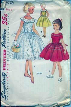 Vintage 1950's Girl's Dress Pattern by AtomicRegeneration on Etsy, $5.95