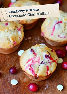 Keep these Cranberry White Chocolate Chip Muffins on hand this winter season as a delicious dessert recipe the whole family can enjoy!
