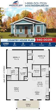 Plan 940-00315 details a Country home design with 1,050 sq. ft., 2 bedrooms, 2 bathrooms, and an open floor plan. #countryhome #country #architecture #houseplans #housedesign #homedesign #homedesigns #architecturalplans #newconstruction #floorplans #dreamhome #dreamhouseplans #abhouseplans #besthouseplans #newhome #newhouse #homesweethome #buildingahome #buildahome #residentialplans #residentialhome