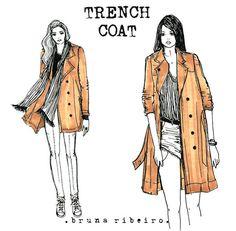 2 maneiras casuais de usar o seu trench coat! Ilustração Bruna Ribeiro www.brunaribeiro.com/blog