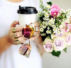 flowers, coffee, and rings image