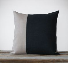 Minimal Color Block Decorative Pillow in Black and Natural Linen by JillianReneDecor - Two Tone. $68.00, via Etsy.