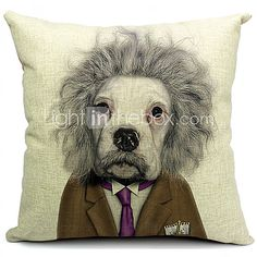 Cartoon Cool Dog Cotton/Linen Decorative Pillow Cover - CAD $19.45
