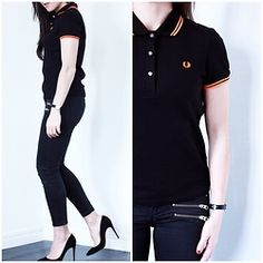Lydia Marceau - Fred Perry Shirt, Topshop Jeans, Christian Louboutin Heels - Fred Perry Soho Neon Giveaway