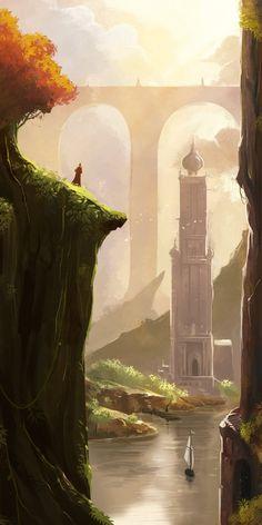 Tower, river and bridge in a fantasy landscape Fantasy City, Fantasy Kunst, Fantasy Places, Fantasy World, Fantasy Concept Art, Fantasy Artwork, Environment Concept Art, Environment Design, Fantasy Landscape