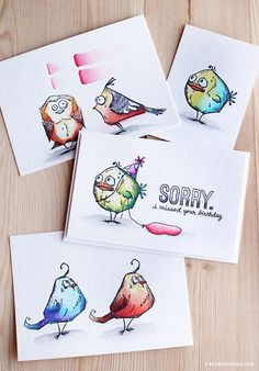 Prima Watercolor Pencils First Impressions & Tim Holtz Bird Crazy - Color Wednesday wtith a video tutorial; Prima Watercolor, Watercolor Pencils, Watercolors, Tim Holtz Stamps, Crazy Bird, Crazy Cats, Karten Diy, Crazy Colour, Bird Cards
