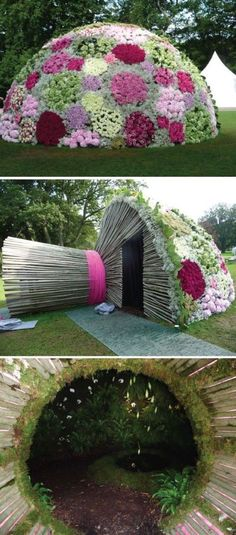 In Sweden, this gazebo in the form of a huge wedding bouquet captured the imagination. Inside, in a magical cave, walls are covered with moss, ferns and white orchids.Created by Anna Frisk.