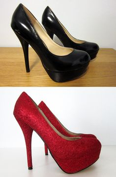 Spruced up plain black pumps with Dorothy-worthy red glitter.