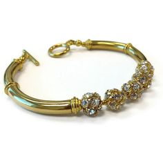 Gold Bracelet Gold Jewelry Pave Crystal Jewelry Wedding by cdjali, $18.00
