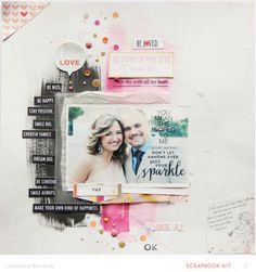 Hello Love *Main Kit only* by lory at @Studio_Calico - scrapbook layout with painted background  #SCsugarrush