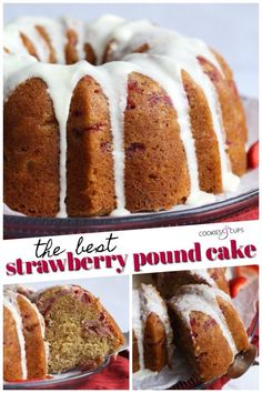 This is THE BEST Strawberry Pound Cake Recipe EVER. This pound cake recipe is loaded with fresh strawberries, and is ultra moist and topped with a sweet icing. you MUST make this strawberry cake! Fresh Strawberry Recipes, Strawberry Cakes, Mini Cakes, Cupcake Cakes, Bundt Cakes, Cupcakes, Classic Pound Cake Recipe, Best Pound Cake Recipe Ever, Pound Cake With Strawberries