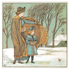 10 Christmas cards with, The North Wind and the Robin, by Walter Crane from The Baby's Bouquet, 1878. http://www.liverpoolmuseums.org.uk/onlineshop/venues/walker/north-wind-robin-christmas-pack.aspx