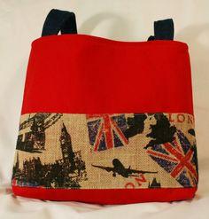 Red London Burlap Purse Tote Bag Handbag