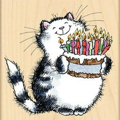 Forever Smile (Birthday) - Love you.Auntie Nae A wood stamp from Penny Black that's perfect for birthdays. This cat is presenting a birthday cake full of candles. Happy Birthday Wishes Cards, Happy Birthday Pictures, Happy Birthday Quotes, Birthday Love, Cat Birthday, Birthday Messages, Funny Birthday, Penny Black Stamps, Birthday Cake With Candles