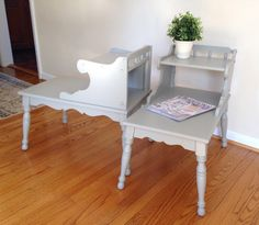Two Gray End Tables Side Tables by 2BirdsVintage on Etsy