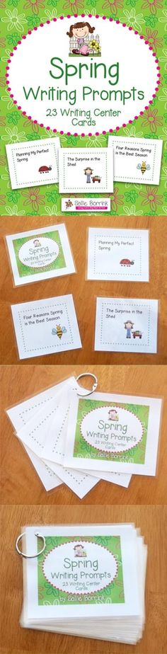 Your students will enjoy these fun spring-themed writing prompts! The set includes 23 cards for easy to use writing center activities. Also available is a Garden Writing Prompts! $
