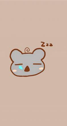 Sleeping koala. Tap to see 8 Cartoon Sleepy Animals Zzz Wallpapers - @mobile9 #cute #chibi #cartoon