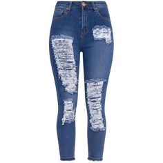 Dark Wash Drop Hem Super Distress Skinny Jean ❤ liked on Polyvore featuring jeans, dark wash skinny jeans, dark-wash jeans, ripped blue jeans, destructed skinny jeans and destroyed jeans