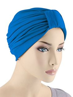 c005dc4ad00 Classic Cotton Turban Pleated Chemo Cap for Women with Cancer in Royal Blue     Check