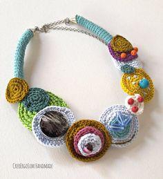 Rigid Crochet necklace adjustable choker statement necklace