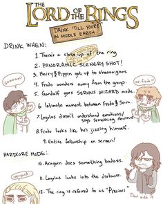 The Lord of the Rings drinking game