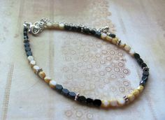 Black and tan cream ivory beaded anklet Ankle bracelet Boho chic Bohemian Summer etsy 2016 finds Gift idea For her Handmade fashion jewelry by JBDJulesByDesign on Etsy