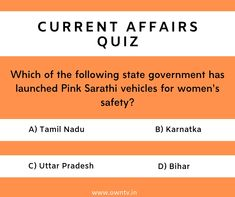 Current Affairs Quiz Choose the right option and comment down. Paper Video, Current Affairs Quiz, Core Beliefs, Question Of The Day, Choose The Right, State Government, Study Materials, Product Launch, Education