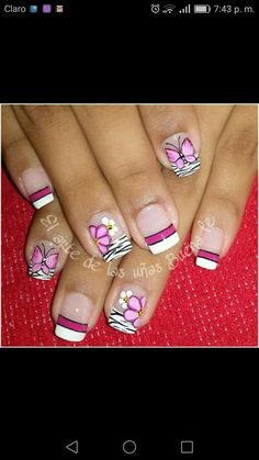 Toenails, Gel Nails, Butterfly Nail, Toe Nail Designs, Beautiful Nail Art, Hipsters, Nail Arts, Spring Nails, Flower Designs