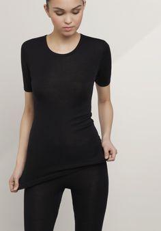 Metade PureMIX camisa de manga de lã merino orgânico com seda