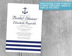 Elegant Anchor Bridal Shower Invitations