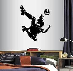 Girl Soccer Player Kicking Silhouette Sports Wall Decal Custom - Custom vinyl stickers for girls