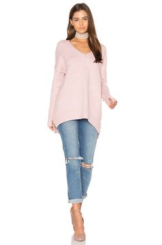 John & Jenn by Line Gala V Neck Sweater in Sherbert