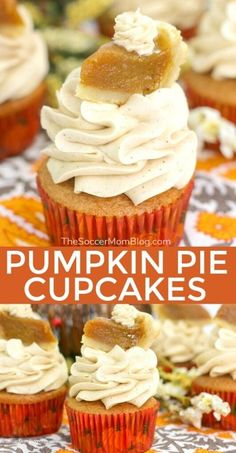 Made with real pumpkin and topped with a miniature slice of pumpkin pie, these pumpkin pie cupcakes are the cutest Thanksgiving dessert ever! And of course they're delicious too! These cupcakes are so easy to make! Try making some of this delicious dessert this Fall! #thanksgiving #pumpkinpie #fall #cupcakes #recipes #desserts Pumpkin Pie Cupcakes, Mini Pumpkin Pies, Pumpkin Pie Cheesecake, Pumpkin Pie Recipes, Cake Mix Cupcakes, Baking Cupcakes, Easy Pumpkin Pie, Cupcake Recipes, Fall Recipes