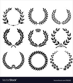 set - laurel wreath. Download a Free Preview or High Quality Adobe Illustrator Ai, EPS, PDF and High Resolution JPEG versions.