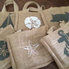 Variety of finishes available for our small burlap beach tote!