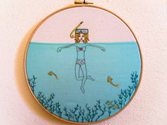 """Summertime - Embroidery illustration Wall hanging- Underwater illustration - Snorkeler Thread drawing - Contemporary embroidery - 9"""" hoop"""