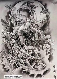Ganesh Tattoo, C Tattoo, Asian Tattoos, Back Tattoos, Female Samurai, Japanese Tattoo Designs, Japan Tattoo, Chinese Design, Geisha