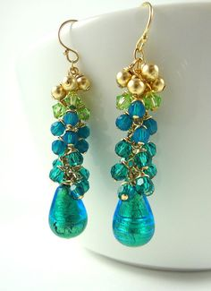 Ombre Peacock Teal Green Blue Earrings Gold Foil by AstersInAugust, $48.00