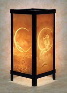 MERMAIDS * 4 PANEL LAMP  Lithophane Nightlight Mermaid Porcelain