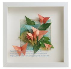 Bespoke Butterfly and leaf 3d wall art, presented in a box frame £25.00