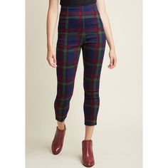Collectif So Glad It's Plaid High-Waisted Pants ($69) ❤ liked on Polyvore featuring pants, plaid dress pants, cropped pants, skinny suit pants, skinny fit dress pants and striped pants